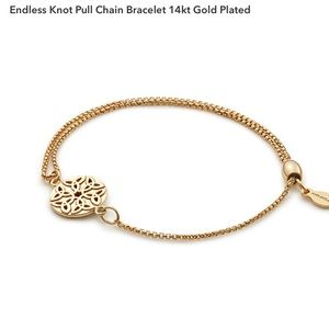 Endless Knot Pull Chain Bracelet 14kt Gold Plated